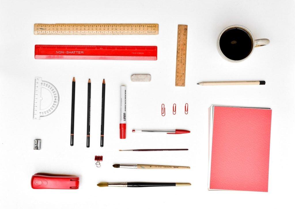 desk, stationery, organized
